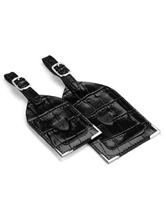 Set Of 2 Luggage Tags In Deep Shine Black Croc
