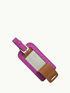 Luggage Tag In Orchid Embossed Python
