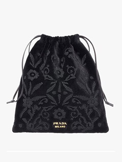 Embroidered Velvet Pouch
