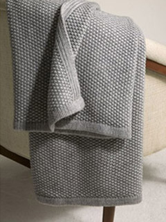 Seed-Stitch Wool And Cashmere Blanket