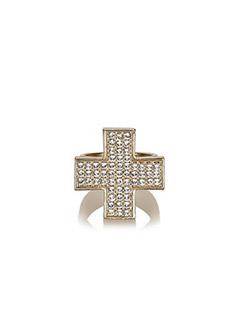 Rhinestone Cross Ring