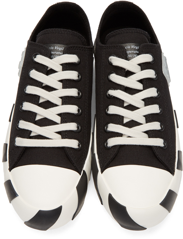 OFF-WHITE Black Striped Low Sneakers