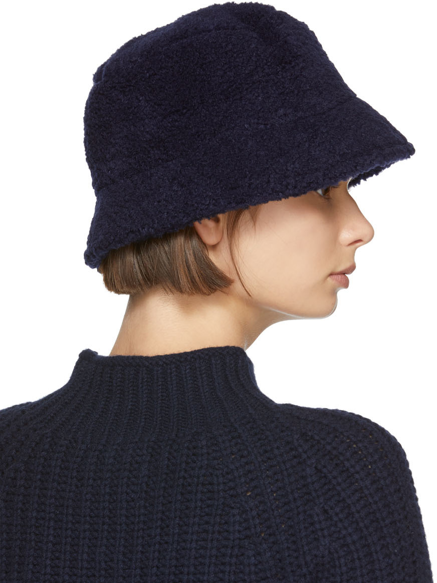 YMC Navy Fleece Bucket Hat