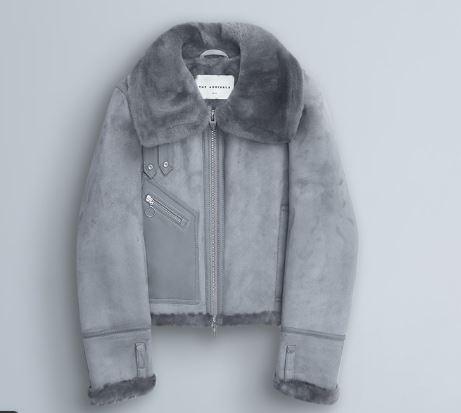THE ARRIVALS  MOYA MINI Crop Shearling Moto  – Washed Grey