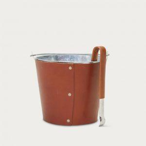 JENNI KAYNE Leather Ice Bucket & Tongs