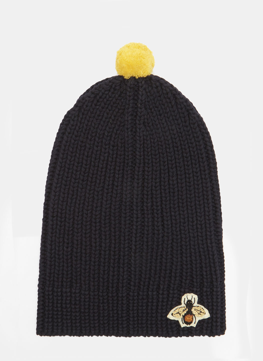 GUCCI Bee Embroidered Ribbed Bobble Hat in Navy