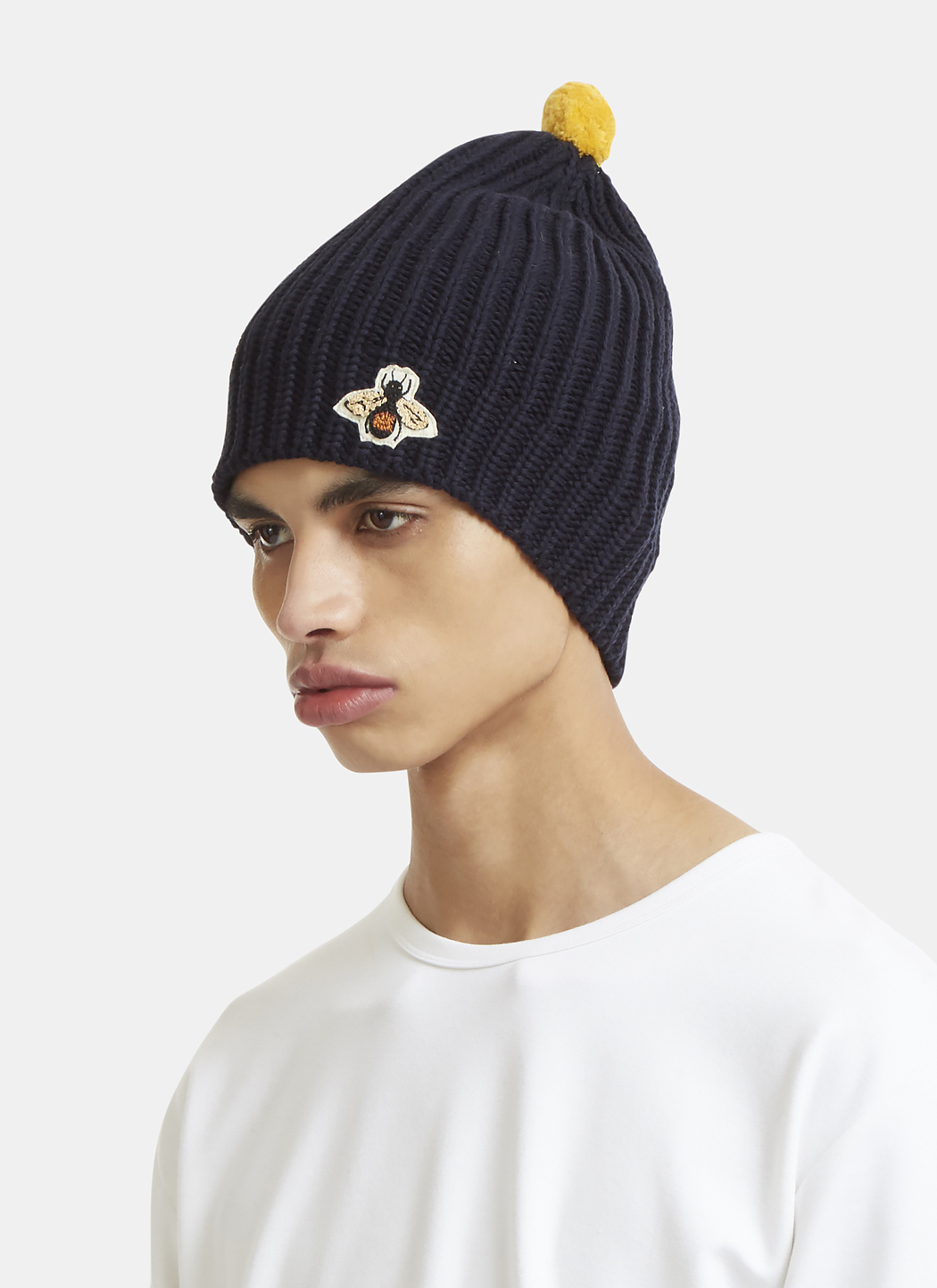 GUCCI Bee Embroidered Ribbed Bobble Hat in Navy - ShopPulp 81125612b49
