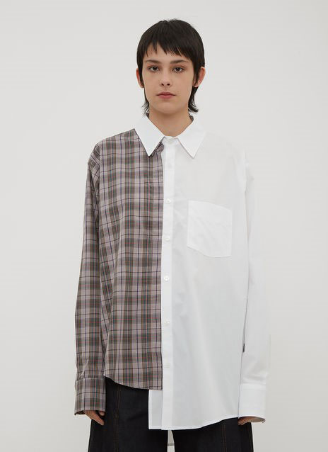 SPLIT BACK PATCHWORK SHIRT