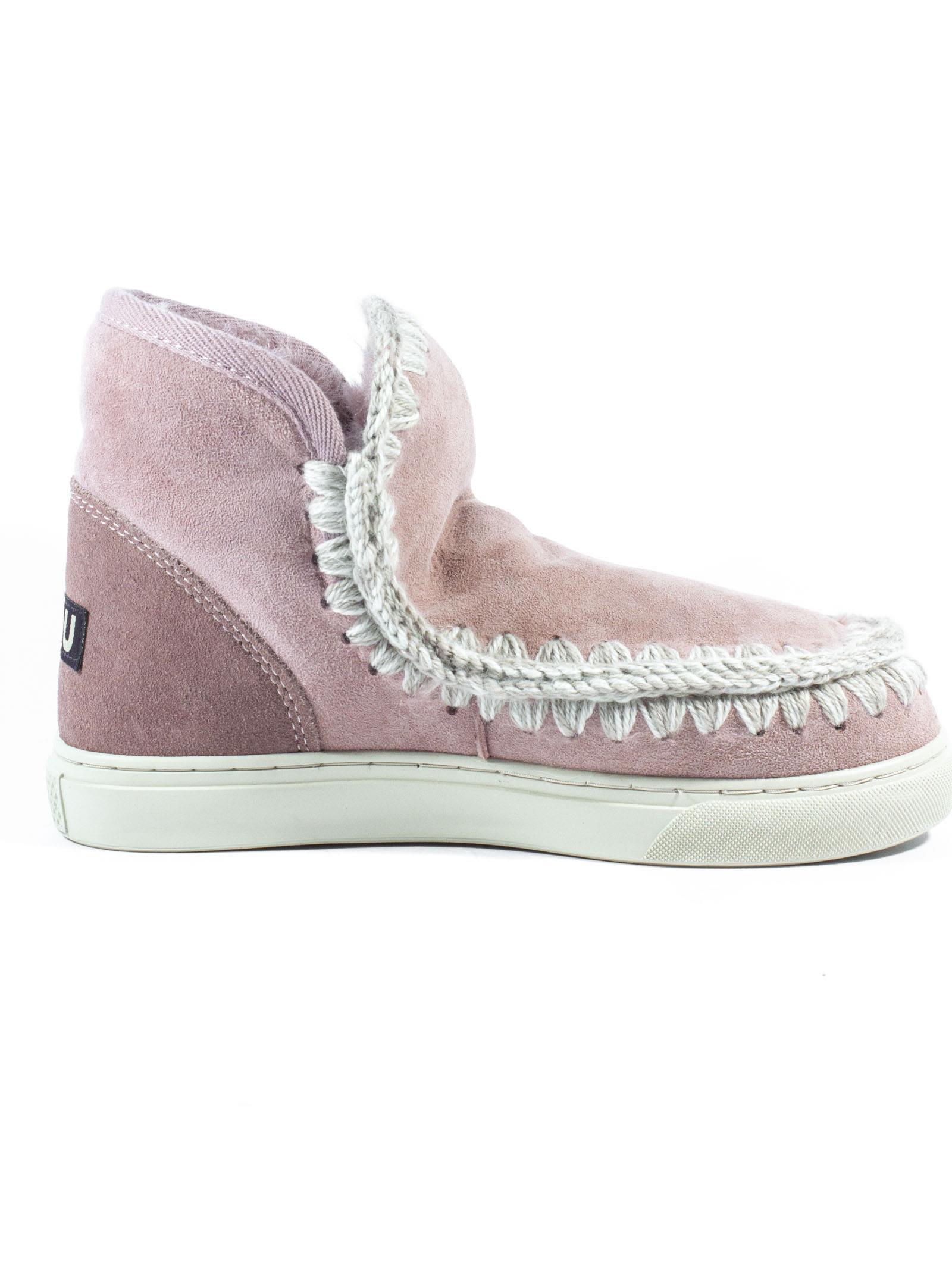 MOU Eskimo Sneaker In Antique Pink Sheepskin