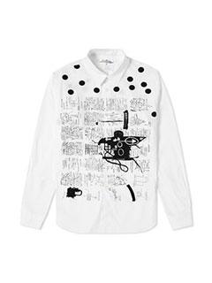 Comme Des Garcons Shirt X Jean-michel Basquiat Poplin Print Shirt