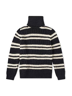Saint Laurent Chunky Stripe Roll Neck Knit