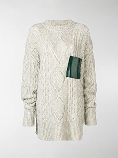 Contrast-Patch Cable Knit Sweater