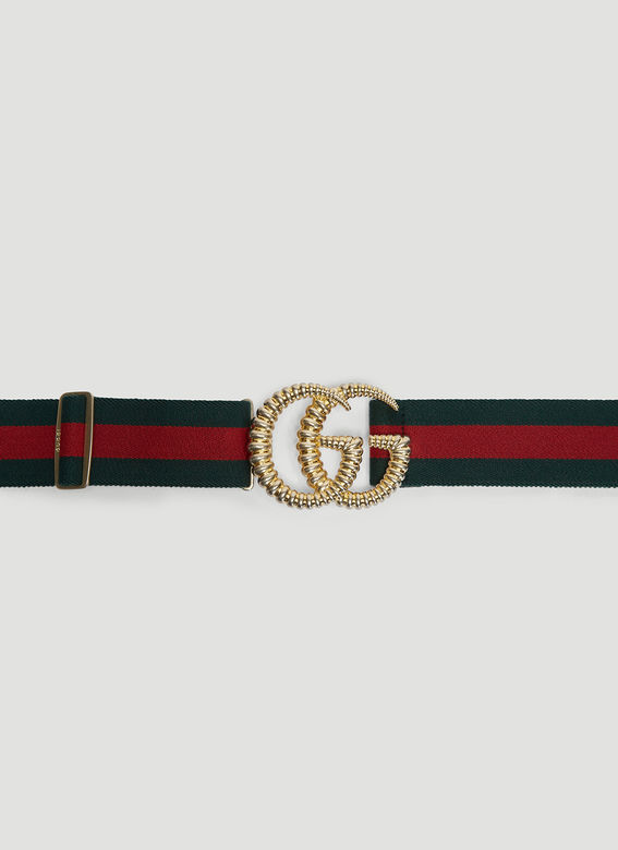 GUCCI Double G Torchon Buckle Web Elastic Belt in Green