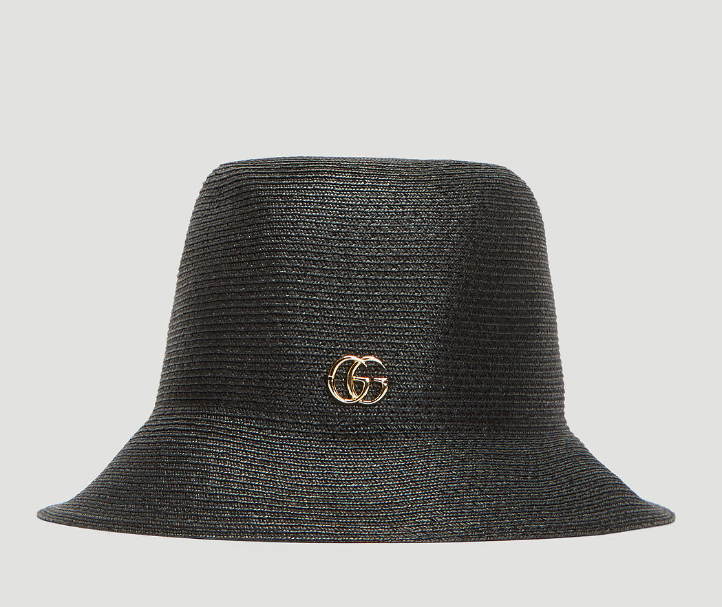 a8331a47 ... Accessories / GUCCI GG Straw Bucket Hat in Black. 🔍. $360.00