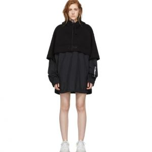 JUUN.J Black 'The Altered Tech' Layered Hooded Dress