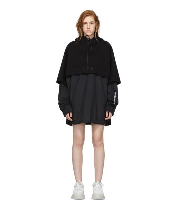 JUUN.J Black 'The Altered Tech' Layered Hooded Dress