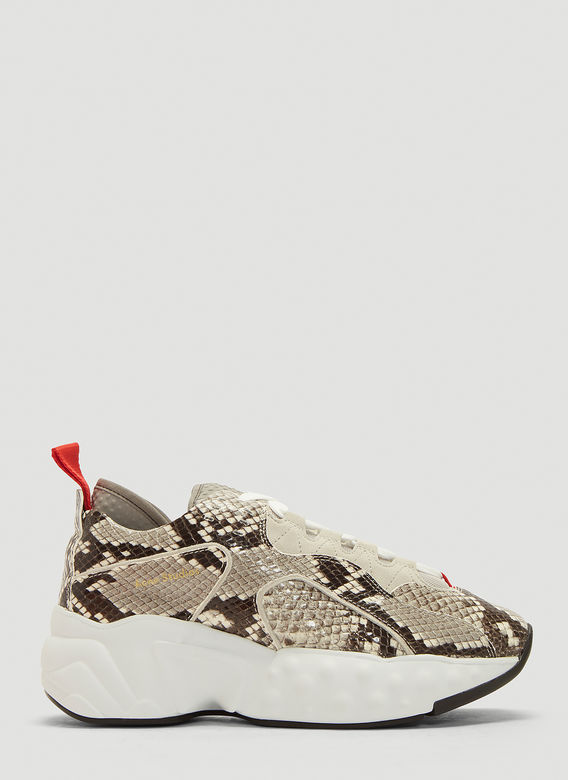 ACNE STUDIOS Manhattan Snake Leather Sneakers in Grey