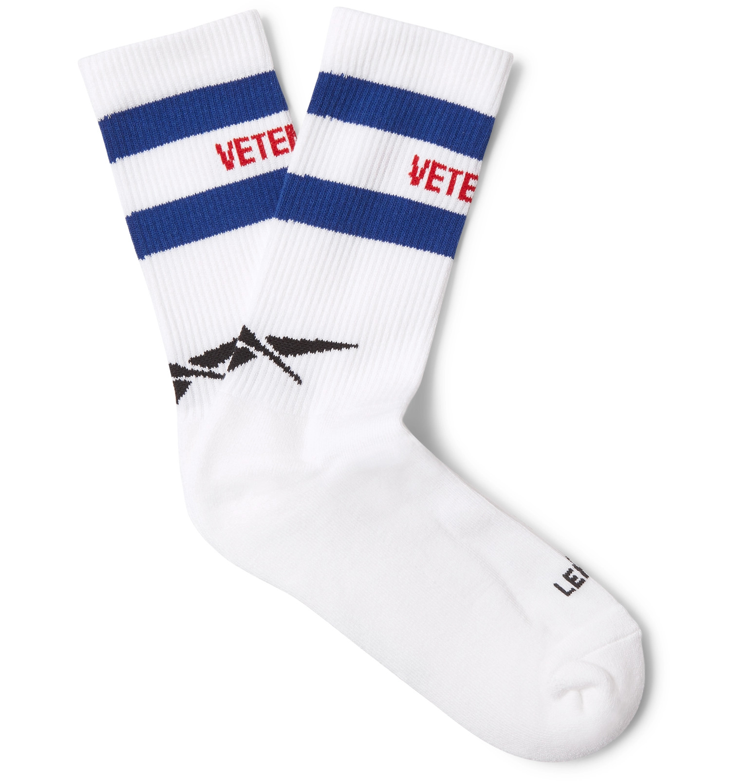 VETEMENTS + Reebok Logo-Intarsia Stretch Cotton-Blend Socks