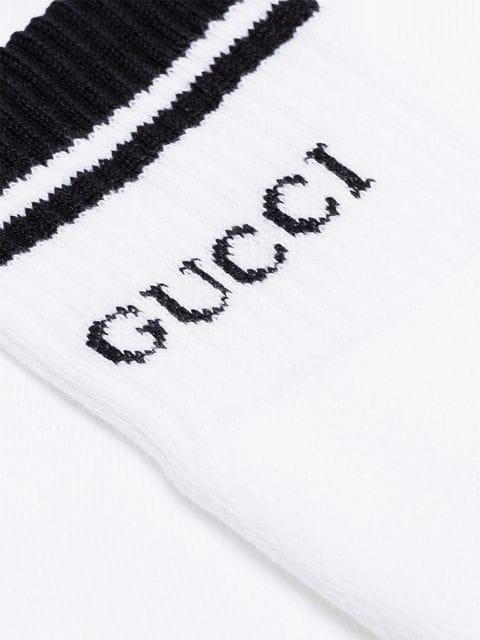 GUCCI white and black cotton logo socks