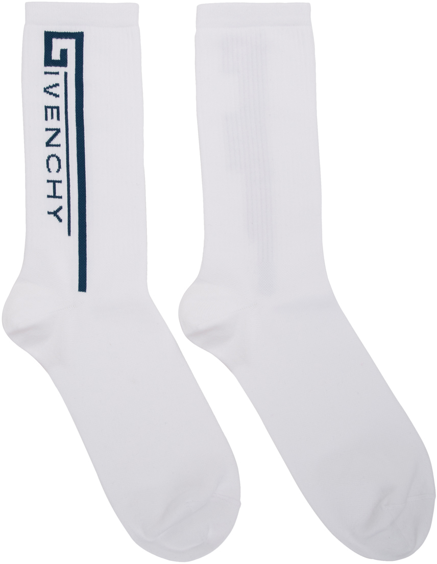 GIVENCHY White Moto Biker Socks Logo Socks