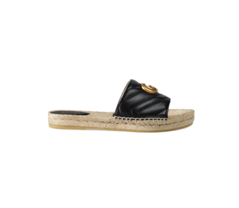 GUCCI Black Pilar Leather And Raffia Sandals
