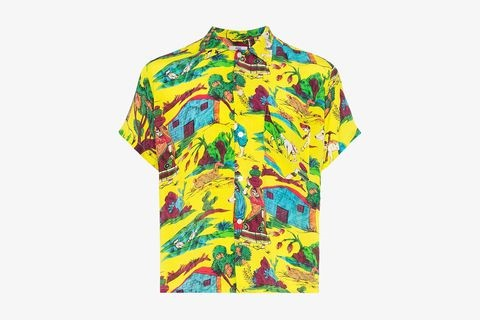 Village Scene Print Silk Bowling Shirt