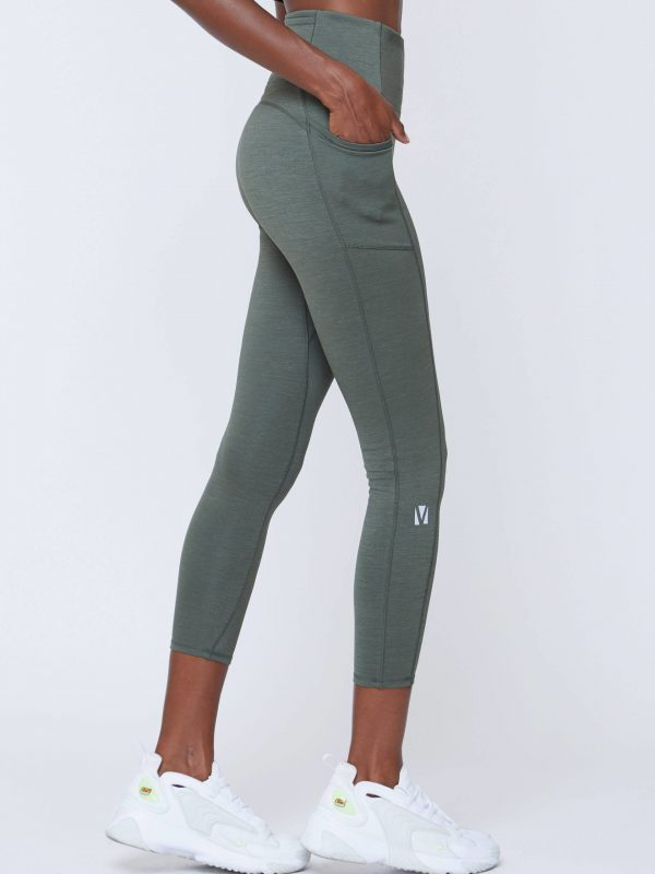 VOICE OF INSIDERS Seacell Phone Pocket 7/8 Legging - Green Heather