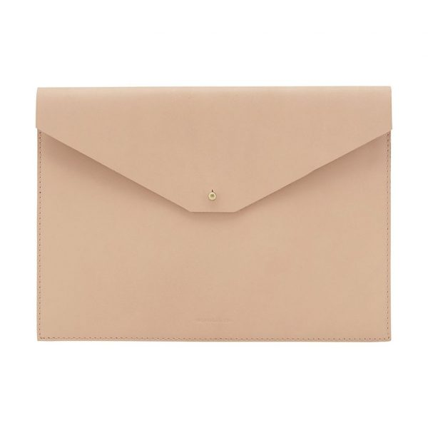 SOCIETY OF LIFESTYLE Leather Electronics Sleeve in Nude