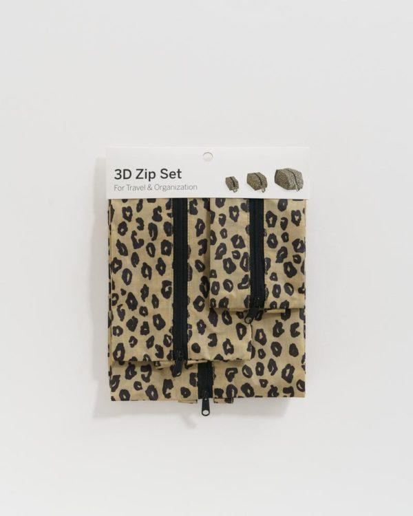 BAGGU 3D Zip Set in Honey Leopard - Set of 3