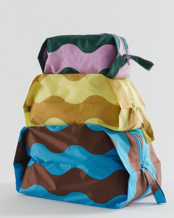 BAGGU Wavy Stripes 3D Zip Set - Set of 3