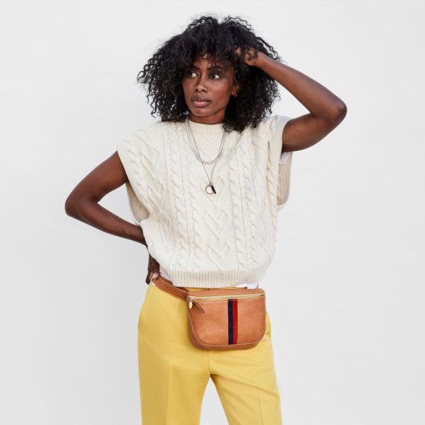 CLARE V. Fanny Pack in Natural w/ Stripes