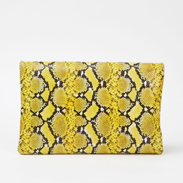 CLARE V. Foldover Clutch w/ Tabs in Embossed leather