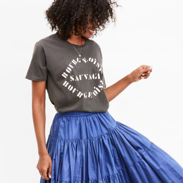 CLARE V. Original Fit Tee in Faded Black w/ Cream Stencil Bourgeoisie Sauvage