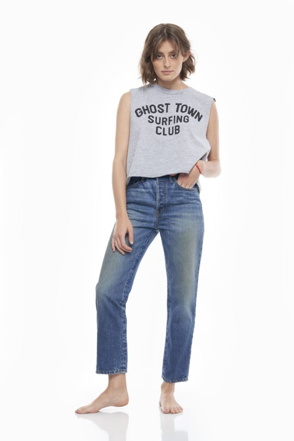 SANDRINE ROSE 'Ghost Town Surfing Club' Short Hem Tank