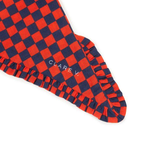 CLARE V. Triangle Ruffle Bandana in Navy & Red Checker