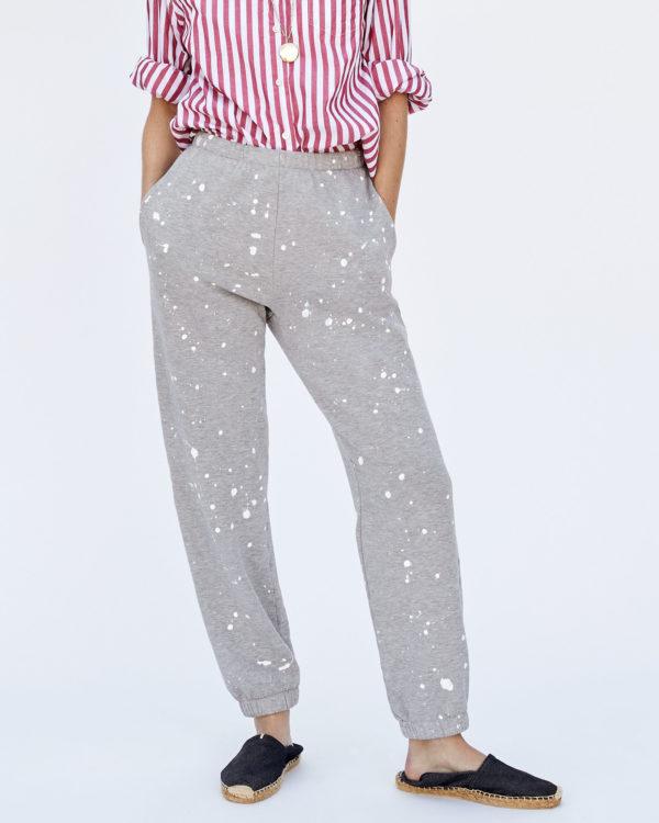 CLARE V. Sweatpants in Light Grey Splash