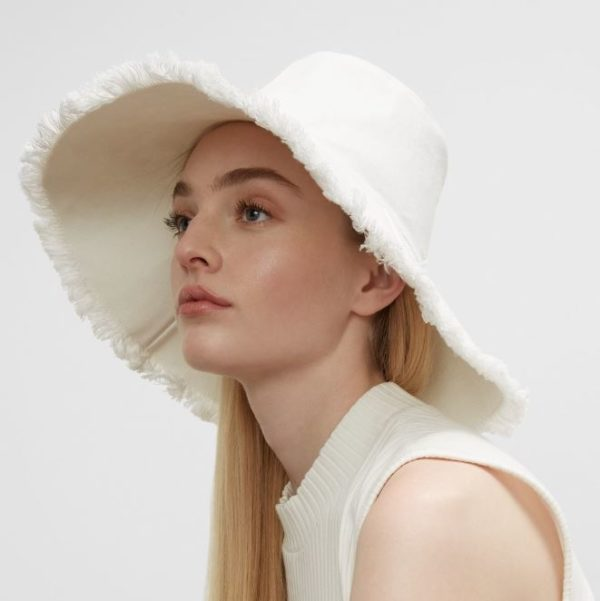 HAT ATTACK Frayed edge Canvas Packable Hat in Natural or White