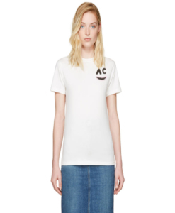 ALEXACHUNG Ivory AC Teeth Boxy T-Shirt