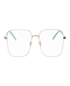 GUCCI White and Gold Oversized Vintage Square Glasses