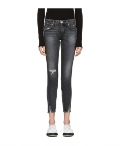 AMO Black Distressed Twist Jeans