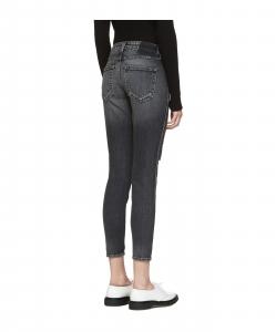 AMO Black Distressed Twist Jeans