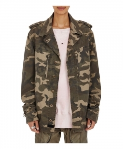 FAITH CONNEXION Fringed Camouflage-Print Canvas Jacket