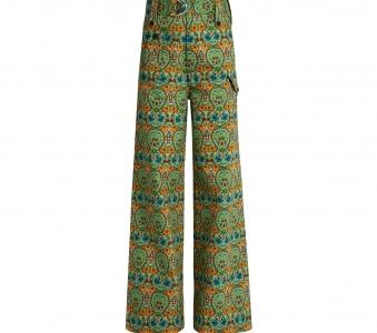MIU MIU Agra-print wide-leg denim trousers