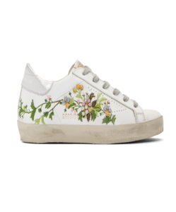 GOLDEN GOOSE DELUXE BRAND White Flowers Embroidered Superstar Sneakers