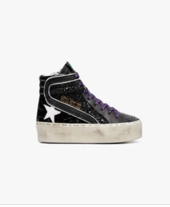 GOLDEN GOOSE DELUXE BRAND Black Glitter Detail Leather Hi-Top Sneakers