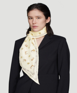 GUCCI Horse Shoe GG Print Scarf in Cream