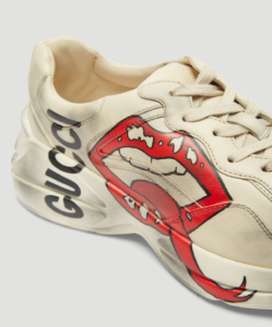 GUCCI Rhyton Mouth Leather Sneakers in White