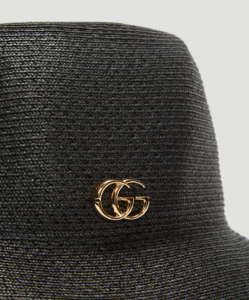 GUCCI GG Straw Bucket Hat in Black