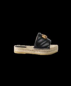 GUCCI Black Pilar Leather And Raffia Sandals