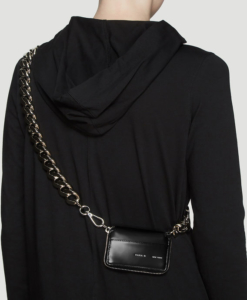 KARA Curb Chain Bikers Wallet in Black
